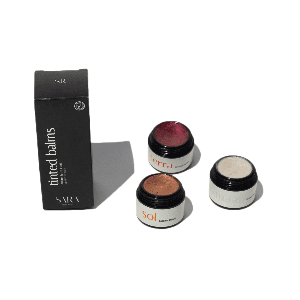 tinted balms red, gold, white